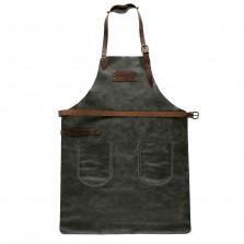 Lederschürze FEUERMEISTER® Antikleder Anthrazit mit Taschen